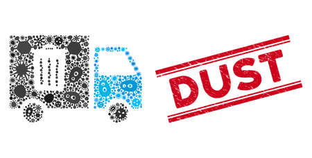 Virus mosaic rubbish transport van icon and red Dust seal stamp between double parallel lines. Mosaic vector is created with rubbish transport van icon and with scattered bacillus items. Illustration
