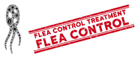 Contagion mosaic microorganism icon and red Flea Control Treatment watermark between double parallel lines. Mosaic vector is created with microorganism icon and with randomized contagion items.