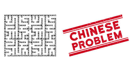 Fever mosaic labyrinth icon and red Chinese Problem stamp between double parallel lines. Mosaic vector is designed with labyrinth icon and with randomized virus items.