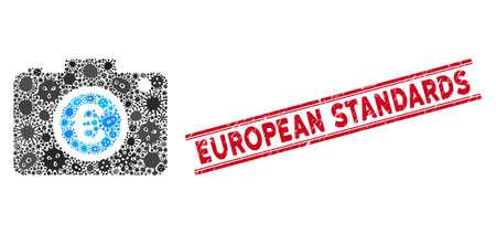 Icône de photo de l'euro de mosaïque d'agents pathogènes et timbre rouge des normes européennes entre les doubles lignes parallèles. Le vecteur mosaïque est conçu avec un pictogramme photo Euro et avec des symboles pathogènes aléatoires.
