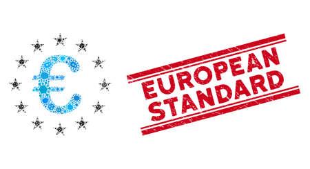 Icône d'étoiles de l'Union européenne en mosaïque microbienne et timbre de sceau standard européen rouge entre deux lignes parallèles. Le vecteur mosaïque est composé d'un pictogramme d'étoiles de l'Union européenne et d'icônes de microbes aléatoires. Vecteurs