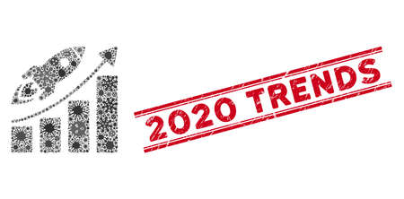 Contagious mosaic business growth icon and red 2020 Trends seal stamp between double parallel lines. Mosaic vector is formed with business growth icon and with random infection elements. Vecteurs