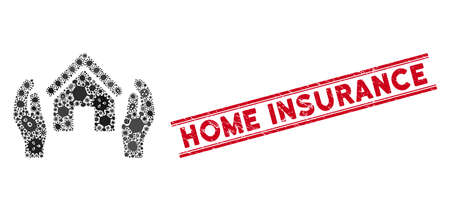 Infection collage realty insurance hands icon and red Home Insurance seal between double parallel lines. Mosaic vector is designed with realty insurance hands icon and with scattered viral icons.