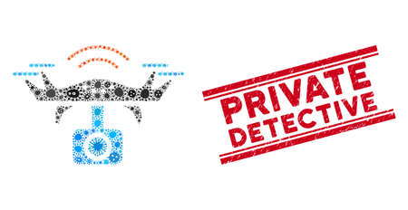 Contagion collage spy drone icon and red Private Detective seal stamp between double parallel lines. Mosaic vector is formed with spy drone icon and with scattered contagion objects.