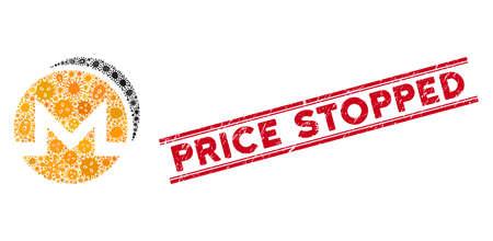 Mosaico de riesgo biológico Icono de monedas de Monero y sello rojo de precio detenido entre líneas paralelas dobles. El vector de mosaico está compuesto con el icono de monedas Monero y con elementos de virus dispersos.