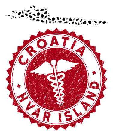 Vector collage Hvar Island map and red rounded grunge stamp seal with medicine symbol. Hvar Island map collage formed with oval items. Red rounded clinic stamp, with grunge texture.
