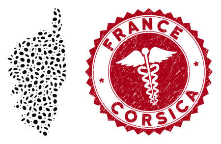 Vector collage Corsica France Island map and red rounded corroded stamp seal with doctor sign. Corsica France Island map collage constructed with elliptic elements. Red rounded doctor stamp,