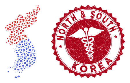 Vector mosaic North and South Korea map and red round distressed stamp seal with medicine symbol. North and South Korea map collage formed with oval items. Red round medicine stamp,