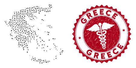 Vector collage Greece map and red round rubber stamp seal with medical icon. Greece map collage created with elliptic spots. Red round doctor stamp, with unclean texture.