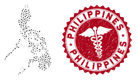 Vector collage Philippines map and red round rubber stamp seal with caduceus symbol. Philippines map collage formed with elliptic elements. Red round healthcare seal stamp, with distress texture.