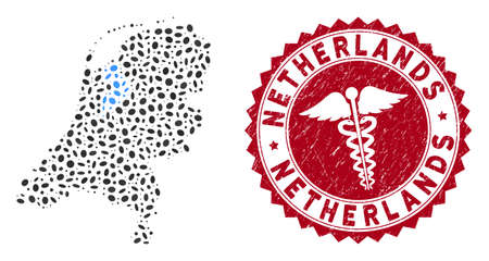 Vector collage Netherlands map and red rounded rubber stamp seal with caduceus symbol. Netherlands map collage constructed with oval items. Red rounded medic seal stamp, with grunge texture. Illustration