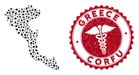 Vector collage Corfu Island map and red rounded distressed stamp seal with serpents symbol. Corfu Island map collage constructed with oval spots. Red rounded doctor seal, with grunge texture.