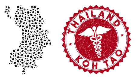 Vector collage Koh Tao Thai Island map and red round corroded stamp seal with medical icon. Koh Tao Thai Island map collage composed with ellipse spots. Red round medical seal stamp, 矢量图像
