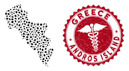 Vector mosaic Andros Island of Greece map and red rounded grunge stamp watermark with serpents sign. Andros Island of Greece map collage composed with ellipse spots. Red rounded serpents stamp, Çizim