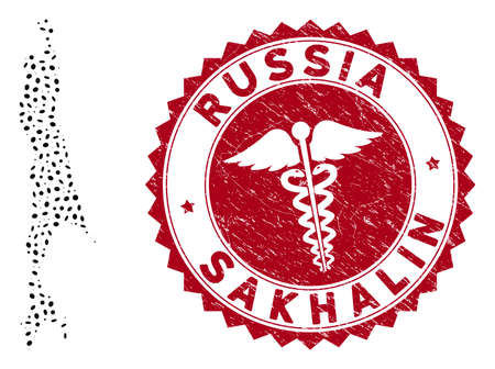Vector collage Sakhalin Island map and red rounded grunge stamp watermark with medicine icon. Sakhalin Island map collage composed with ellipse elements. Red rounded healthcare watermark, Иллюстрация