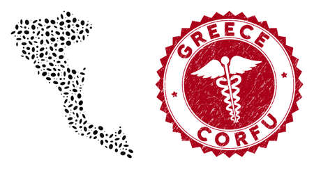 Vector collage Greek Corfu Island map and red rounded rubber stamp seal with medic icon. Greek Corfu Island map collage constructed with elliptic spots. Red rounded caduceus stamp, with dirty texture. Çizim