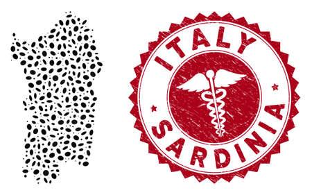 Vector collage Italian Sardinia Island map and red round distressed stamp seal with medical symbol. Italian Sardinia Island map collage created with ellipse items. Red round healthcare seal stamp,