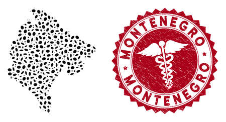 Vector mosaic Montenegro map and red round grunge stamp seal with health care icon. Montenegro map collage constructed with elliptic elements. Red round health care seal stamp, with dirty texture.