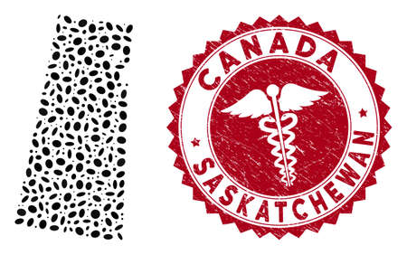 Vector collage Saskatchewan Province map and red rounded rubber stamp seal with medic symbol. Saskatchewan Province map collage formed with ellipse elements. Red rounded health care seal stamp, Illustration