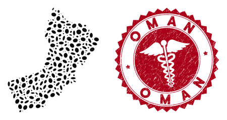 Vector collage Oman map and red rounded rubber stamp seal with caduceus symbol. Oman map collage constructed with elliptic spots. Red rounded caduceus seal stamp, with grunge texture.