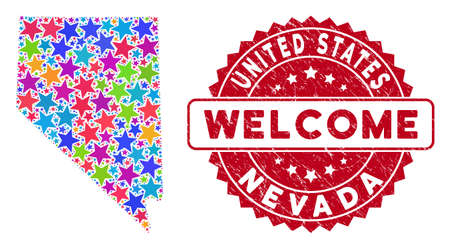 Colorful Nevada State map collage of stars, and textured rounded red WELCOME stamp. Abstract territory plan in bright color tinges. Vector Nevada State map is shaped of color stars.