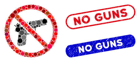 Mosaic no guns and distressed stamp seals with No Guns caption. Mosaic vector no guns is formed with random round dots. No Guns stamp seals use blue and red colors, and have round rectangle shape.