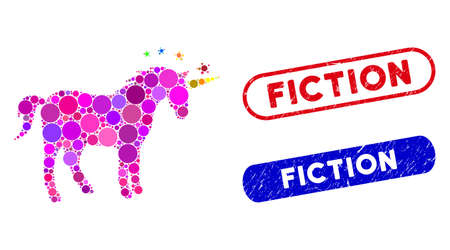 Mosaic unicorn and distressed stamp watermarks with Fiction phrase. Mosaic vector unicorn is created with randomized round elements. Fiction stamp seals use blue and red colors,