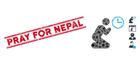 Mosaic pray time icon and red Pray for Nepal seal stamp between double parallel lines. Flat vector pray time mosaic pictogram of randomized rotated rectangular items. Ilustrace
