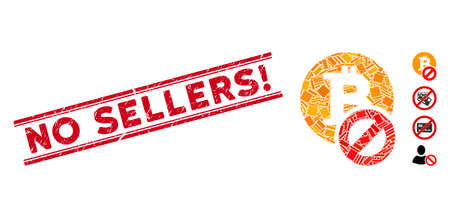 Mosaic forbidden Bitcoin pictogram and red No Sellers! stamp between double parallel lines. Flat vector forbidden Bitcoin mosaic pictogram of random rotated rectangular items.