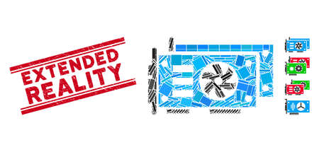Mosaic GPU video cards icon and red Extended Reality seal stamp between double parallel lines. Flat vector GPU video cards mosaic icon of random rotated rectangular items.