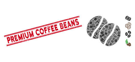 Mosaic coffee beans icon and red Premium Coffee Beans stamp between double parallel lines. Flat vector coffee beans mosaic icon of random rotated rectangular elements.
