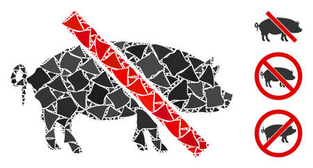 Glowing white mesh forbidden pork with glare effect. Abstract illuminated model of forbidden pork. Shiny wire frame polygonal mesh forbidden pork icon on a black background.
