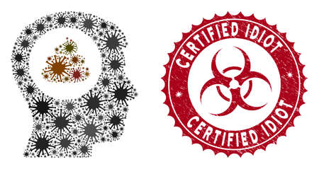 Coronavirus mosaic shit idea head icon and round distressed stamp seal with Certified Idiot caption. Mosaic vector is created with shit idea head icon and with randomized bacteria symbols.
