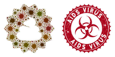 Coronavirus mosaic shit token icon and rounded rubber stamp watermark with AIDS Virus text. Mosaic vector is designed with shit token pictogram and with scattered mers-cov symbols. Ilustracja