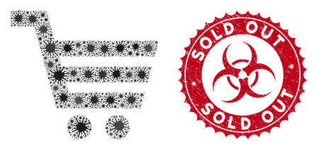 Coronavirus mosaic shopping cart icon and rounded grunge stamp watermark with Sold Out caption. Mosaic vector is designed with shopping cart icon and with scattered bacteria icons.