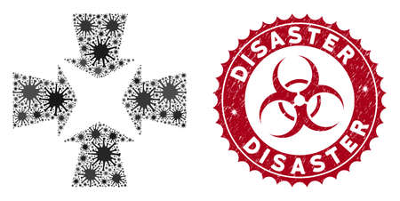 Coronavirus mosaic shrink arrows icon and rounded distressed stamp seal with Disaster caption. Mosaic vector is created with shrink arrows icon and with scattered microorganism objects. Ilustracja