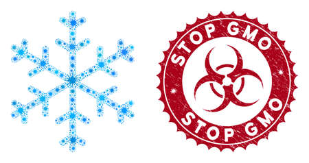 Coronavirus mosaic snowflake icon and round corroded stamp seal with Stop GMO caption. Mosaic vector is composed with snowflake icon and with randomized viral items.
