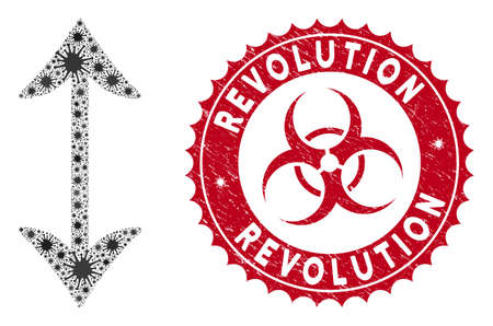 Coronavirus mosaic swap vertically icon and round rubber stamp seal with Revolution text. Mosaic vector is designed with swap vertically icon and with randomized infectious objects. 矢量图像