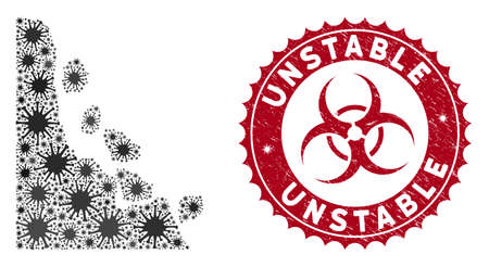 Coronavirus mosaic unstable stones icon and rounded grunge stamp seal with Unstable caption. Mosaic vector is designed with unstable stones icon and with random pathogen items. 일러스트