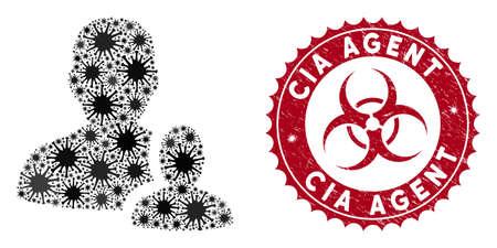 Coronavirus mosaic user manager icon and round rubber stamp watermark with CIA Agent phrase. Mosaic vector is formed with user manager icon and with randomized contagious symbols. Ilustração