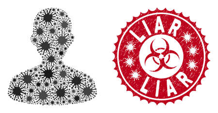 Coronavirus mosaic user icon and rounded grunge stamp watermark with Liar text. Mosaic vector is designed from user icon and with randomized viral symbols. Liar stamp seal uses biohazard style, 일러스트