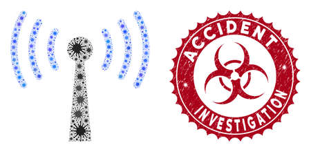 Coronavirus mosaic WiFi station icon and round grunge stamp watermark with Accident Investigation phrase. Mosaic vector is created with WiFi station icon and with randomized epidemic icons.
