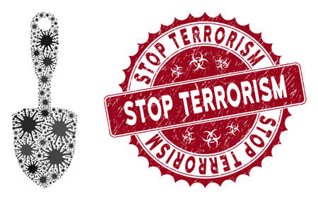 Coronavirus collage scoop shovel icon and round grunge stamp seal with Stop Terrorism text. Mosaic vector is designed from scoop shovel icon and with random microorganism icons.
