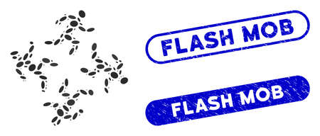 Mosaic running men and corroded stamp seals with Flash Mob caption. Mosaic vector running men is composed with randomized ellipse elements. Flash Mob stamp seals use blue color, Illustration