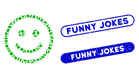Mosaic glad smiley and distressed stamp seals with Funny Jokes text. Mosaic vector glad smiley is designed with scattered oval elements. Funny Jokes stamp seals use blue color,