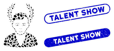 Mosaic man glory and grunge stamp seals with Talent Show caption. Mosaic vector man glory is created with random ellipse items. Talent Show stamp seals use blue color, and have round rectangle shape. Stock Illustratie