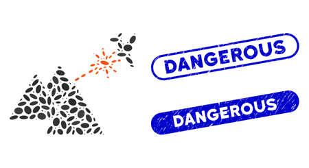 Mosaic piramides strike airplane and corroded stamp seals with Dangerous caption. Mosaic vector piramides strike airplane is designed with randomized oval dots. Dangerous stamp seals use blue color, Ilustração
