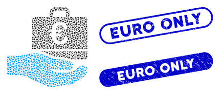 Mosaic Euro accounting hand and rubber stamp seals with Euro Only phrase. Mosaic vector Euro accounting hand is created with random elliptic elements. Euro Only stamp seals use blue color,