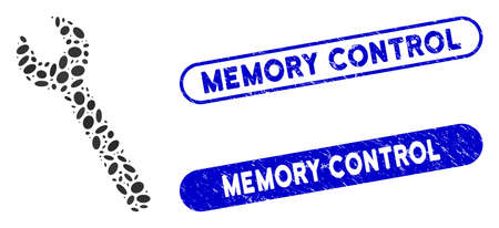 Collage wrench and rubber stamp seals with Memory Control text. Mosaic vector wrench is designed with scattered oval parts. Memory Control stamp seals use blue color, and have round rectangle shape.