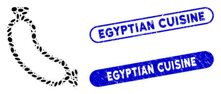 Mosaic sausage and corroded stamp seals with Egyptian Cuisine text. Mosaic vector sausage is composed with scattered elliptic dots. Egyptian Cuisine stamp seals use blue color,